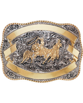 Crumrine Men's Silver and Gold Team Roper Belt Buckle , Silver, hi-res