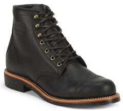 "Chippewa Men's 6"" Lace-Up Black Odessa Homestead Work Boots - Round Toe, , hi-res"