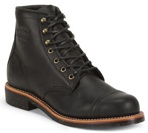 "Chippewa Men's 6"" Lace-Up Black Odessa Homestead Work Boots - Round Toe, Black, hi-res"