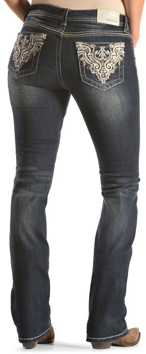 Grace in LA Silver and Blue Easy Fit Bootcut Jeans , Indigo, hi-res