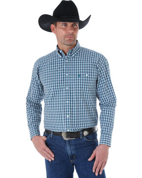 Wrangler George Strait Men's Sage and Brown Plaid Western Shirt, Sage, hi-res