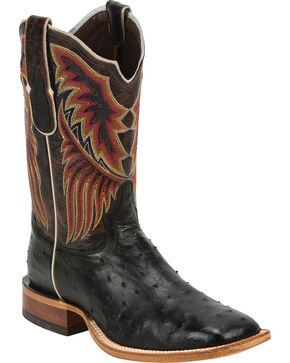 Tony Lama Black Label Full Quill Ostrich Cowboy Boots - Square Toe, Black, hi-res