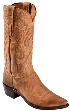 Lucchese Handcrafted 1883 Tan Mad Dog Goatskin Cowboy Boots - Snip Toe, , hi-res