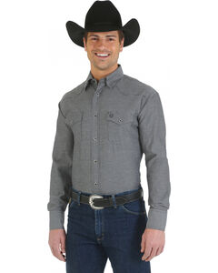 Wrangler George Strait Troubadour Black and Grey Long Sleeve Shirt, , hi-res