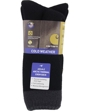 Carhartt Black Arctic Thermal Crew Socks - 2 Pack, Black, hi-res