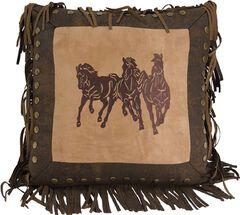 HiEnd Accents Three Horses Fringe Pillow, , hi-res