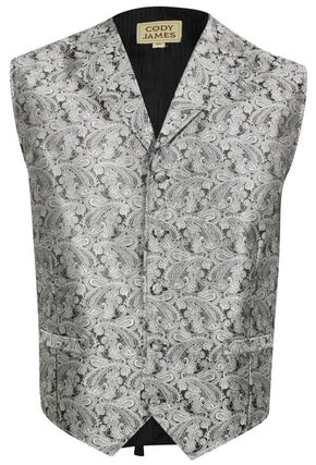 Cody James Men's Paisley Print Western Vest, Grey, hi-res