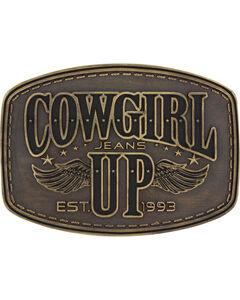 Montana Silversmiths Women's Brass Cowgirl Up Wings Belt Buckle , , hi-res