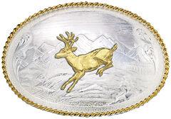 Montana Silversmiths Mountain Scene Running Deer Western Belt Buckle, , hi-res