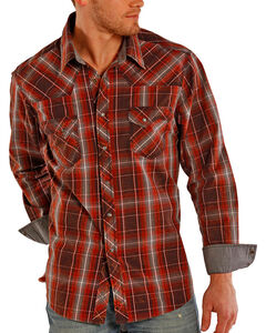Rock & Roll Cowboy Men's Plaid Long Sleeve Shirt, , hi-res