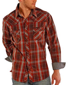 Rock & Roll Cowboy Men's Plaid Long Sleeve Shirt, Rust Copper, hi-res