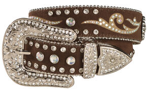 M & F Western Girls' Rhinestone Inlay Western Belt, Brown, hi-res