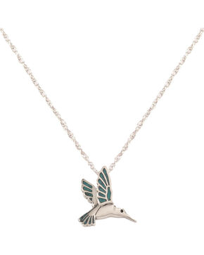 Silver Legends Women's Turquoise Hummingbird Necklace , Turquoise, hi-res