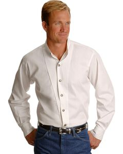 Cumberland Outfitters by Ely Banded Collar Shirt, White, hi-res