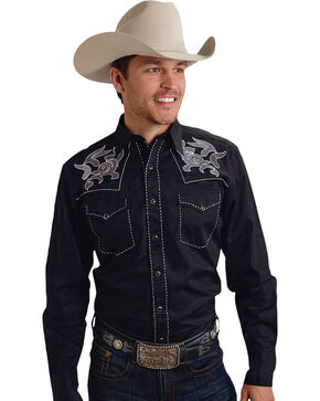 Roper Old West Collection Black Embroidered Long Sleeve Western Shirt, Black, hi-res