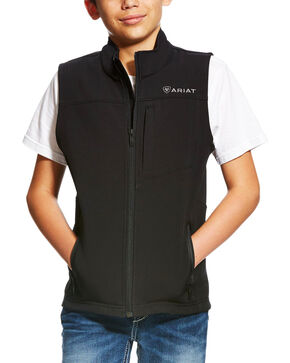 Ariat Boys' Black Vernon Soft Shell Vest , Black, hi-res