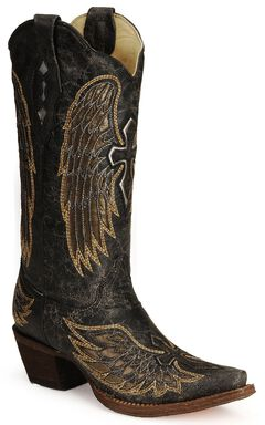 Corral Angel Wing Cross Cowgirl Boots - Snip Toe, , hi-res