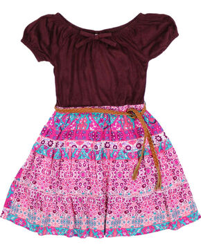 Shyanne Girls' Mixed Pattern Dress, Burgundy, hi-res
