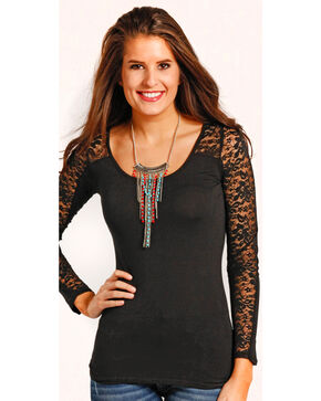 Panhandle Women's Lace Sleeve T-Shirt , Black, hi-res