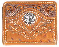 Nocona Tooled Overlay Ostrich Print Studded Cross Concho Bi-Fold Wallet, , hi-res