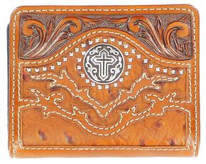 Nocona Tooled Overlay Ostrich Print Studded Cross Concho Bi-Fold Wallet, Tan, hi-res