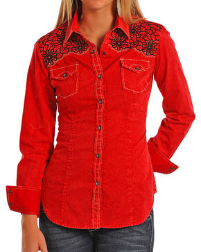 Rock & Roll Cowgirl Women's Solid & Embroidered Long Sleeve Shirt, Red, hi-res
