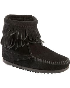 Minnetonka Girls' Double Fringe Side-Zip Moccasin Boot, , hi-res