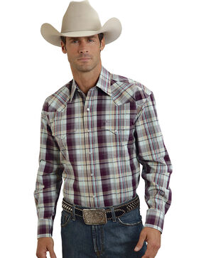 Stetson Bordeaux Plaid Western Shirt, Purple, hi-res