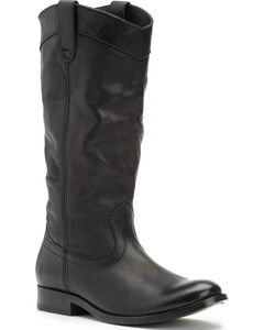 Frye Women's Black Melissa Pull On Boots - Round Toe , , hi-res