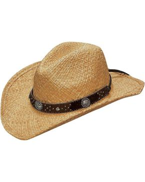 Blazin Roxx Crystal Concho Hat Band Raffia Straw Cowgirl Hat, Natural, hi-res