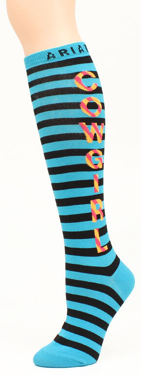 Ariat Girls' Cowgirl Knee Socks, Turquoise, hi-res