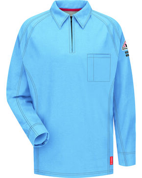 Bulwark Men's Blue iQ Series Flame Resistant Long Sleeve Polo , Blue, hi-res