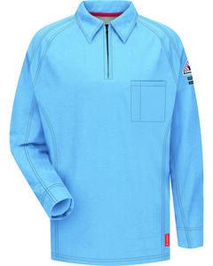 Bulwark Men's Blue iQ Series Flame Resistant Long Sleeve Polo - Big & Tall , , hi-res