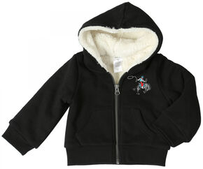 Wrangler Boys' Sherpa Lined Hooded Jacket, Black, hi-res