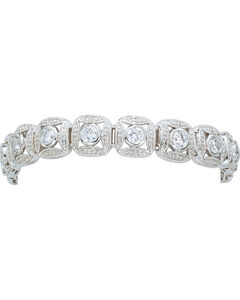 Montana Silversmiths Silver Crystal Square Link Bracelet, , hi-res