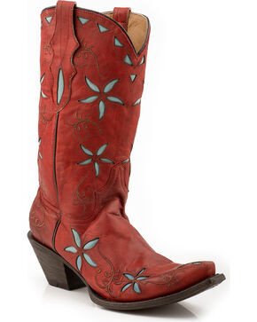 Stetson Blossom Red Cowgirl Boots - Snip Toe, Red, hi-res
