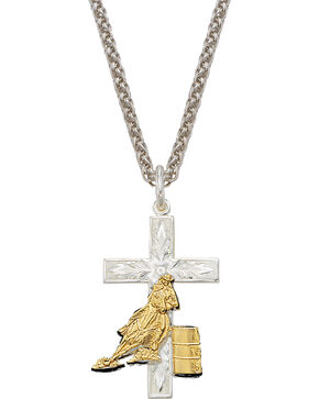 Montana Silversmiths Barrel Racer Cross Necklace, Multi, hi-res