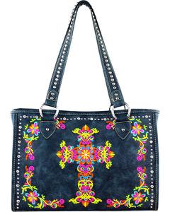 Montana West Navy Spiritual Collection Embroidered Cross Handbag, , hi-res