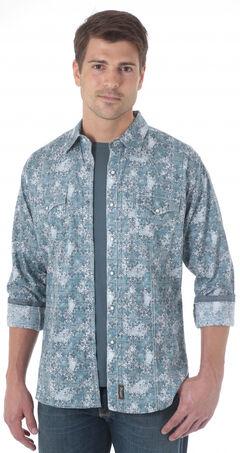 Wrangler Retro Men's Grey Blue Western Shirt , , hi-res