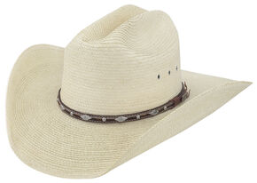Larry Mahan Men's Brindle Palm Western Hat, Natural, hi-res