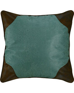 HiEnd Accents Tooled Turquoise Faux Leather Euro Sham, , hi-res