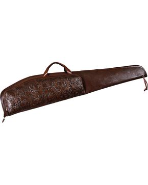3D Chocolate Tooled Leather Rifle Case with Scope Pouch, Brown, hi-res