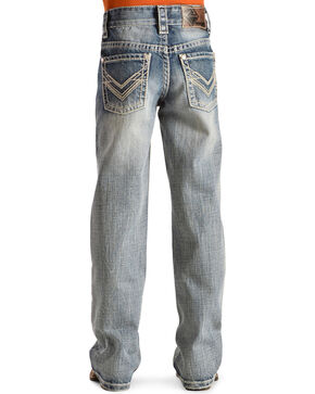 Rock & Roll Cowboy Boys' V-Stitch Light Wash Bootcut Jeans, Denim, hi-res