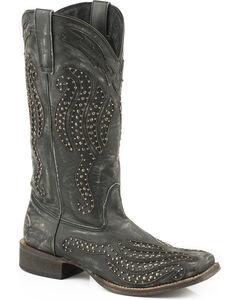 Roper Women's Black Stacie Western Boots - Square Toe , Black, hi-res