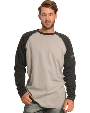 Ariat Men's FR Long Sleeve Baseball T-Shirt , Black, hi-res