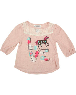 Shyanne Toddler Girls' Love Horses Long Sleeve Top , Pink, hi-res