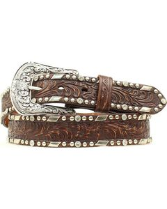 Ariat Embossed Overlay Nailheads Belt, , hi-res