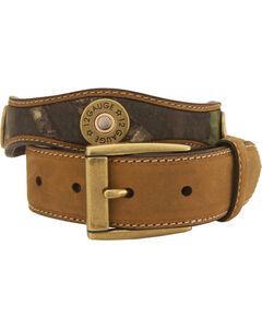 Nocona Mossy Oak Kids' 12-Gauge Leather Belt - 18-26, , hi-res