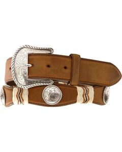 Tony Lama Concho Rawhide Leather Belt - Reg & Big, , hi-res