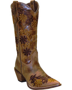 Rawhide by Abilene Boots Women's Brown Floral Cowgirl Boots - Pointed Toe, , hi-res